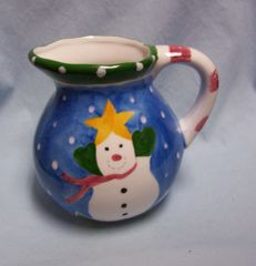 HOLIDAY PITCHER: Colorful Hausenware Snowman Pitcher by M. J. Mitchell