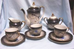 TEASET: Vintage Japanese Teaset Moriage Dragonware Black with Gold Trim 17 pieces