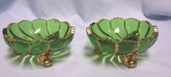 BERRY BOWLS: Pair Antique EAPG Duncan & Sons Emerald Green with Swirls, Beaded, & Gilt Edging Gold Trim Berry Bowls