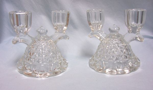 CANDLE HOLDERS: Imperial Glass double Light Arm Candle Holder Laced Edge