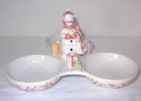 AVON CANDY DISH - Rare Snowlady SNOWMAN Christmas Holiday Collectible CANDY DISH