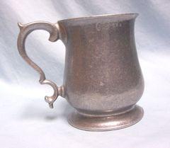 "PEWTER MUG: Vintage Wilton Armetale Pewter Mug Tankard Plough Tavern 4 3/4"" H"