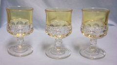 CORDIAL GLASSES: Vintage (3) Indiana Glass Kings Crown Thumbprint Yellow Flashing Cordial Glases