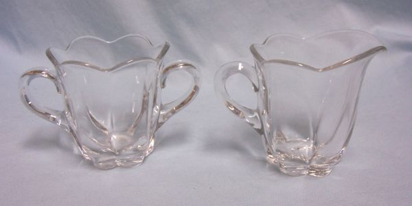 SUGAR & CREAMER SET: Vintage Small Hexagon Clear Glass Open Sugar Bowl & Creamer Scallop Edges