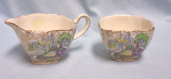 SUGAR & CREAMER SET: BCM Pompadour by Lord Nelson Mini China Creamer & Sugar Bowl Made in England