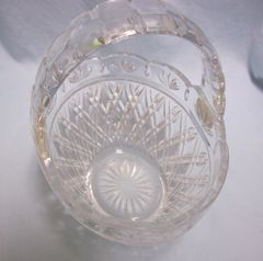 CANDY DISH: Bohemian 24% Lead Crystal Glass Basket Candy Dish -Telefloral Gift