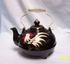 TEAPOT, TEA POT: Vintage Brown Teapot, Tea Pot with Lid and Metal Handle Japan