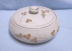 TRINKET DISH: Round Beige Floral Hand-painted Trinket Dish/Powder Dish by Andre Richard - Japan