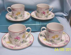 CUP & SAUCER SETS: (4) Floral Fantasy Pattern Cup & Saucer Sets by Georges Briard