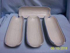CORN HOLDERS: Set (4) Pfaltzgraff Ceramic Boiled Corn Holders Yorktowne Made in USA