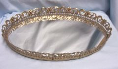 VANITY MIRROR: Vintage Oval Gilt gold Filigree Vanity Mirror Tray Make Up Mirror