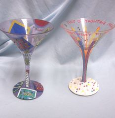 HAPPY BIRTHDAY COCKTAIL GLASSES: 21st Birthday Stemmed Painted Cocktail/Martini Glasses