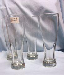 "BEER GLASSES: (4) Tall Sleek Heavy Pilsner Clear Glass Beer Glasses 9 1/4"" Tall"