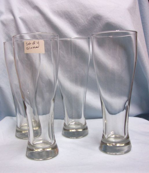 "BEER GLASSES: (4) Tall Sleek Heavy Pilsner Clear Glass Beer Glasses 9 1/4"" Tall"
