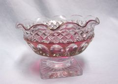 CANDY DISH: Westmoreland Red Cranberry Ruby Flash Candy Dish Textured Glass