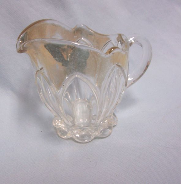 CREAMER: Nice Vintage Clear Glass Creamer with Gold Flashing Faceted Design