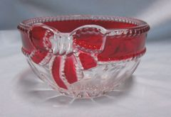 CANDY DISH NUT DISH: Mikasa Red Rudy Candy Dish, Nut Dish with Red Bow - Celebration
