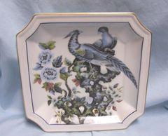 "DECORATIVE PLATE: Andrea of Sadek Decorative 8"" Square Plate with Blue Asian Pheasants #9153 - Japan"