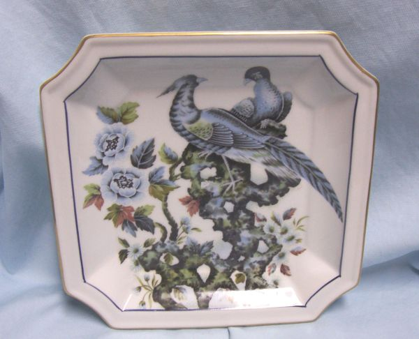 "DECORATIVE PLATE: Andrea of Sadek Decorative 8"" Square Plate with Blue Asian Pheasants #9153 - Japan"