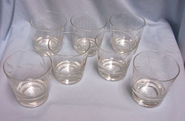 GLASSES: Juice/Whiskey Glasses Set of (7) Crystal Glasses Etched Wheat Pattern '60s