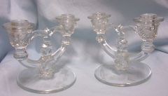 "CANDLE STICK HOLDERS: Pair Double Arm EAPG 5 1/8"" Candlestick Holders Etched Base"