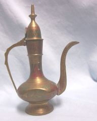 BRASS PITCHER: Vintage India Brass Aftaba Pitcher Hinged Lid Etched Colorful Designs