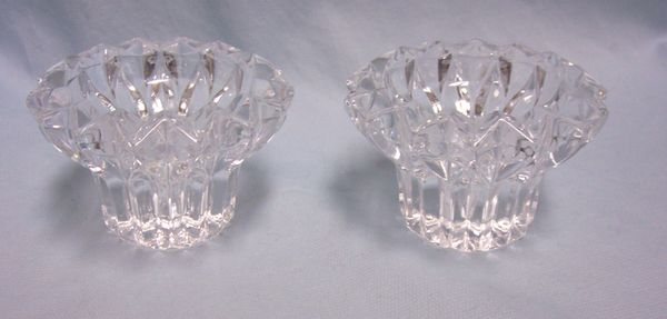 "VOTIVE CANDLE HOLDERS: Pair Clear Crystal Votive Candle Holder Star Burst Pattern 3.5"" Dia."