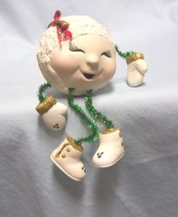 SNOW LADY SHELF SITTER: Vintage Unique Christmas Snow Lady Shelf Sitter with Red Bow