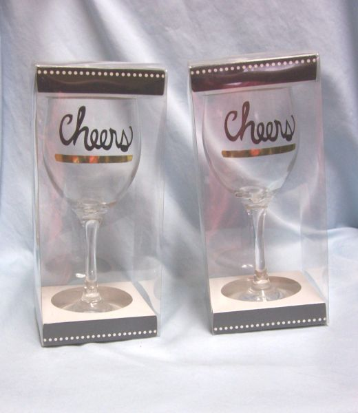 WINE GLASSES: Pair Novelty Wine Glasses with 'Cheers' and Gold color Band