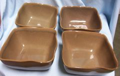 BOWLS: Set of (4) Square Brown Cereal/Soup Bowl by Karen Neuburger - Willow Collection