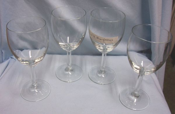 "WINE GLASSES: Set of (4) Clear Glass Barware Stemmed Wine Glasses 3"" Diameter 7"" Tall"
