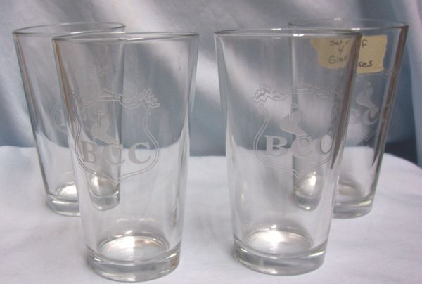 Glasses: (4) Clear Etched Tuimblers, Ice Tea, Water Glasses with BCC & Picture of Golf Course