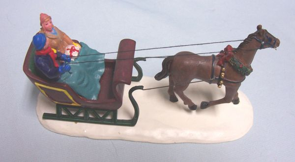 """CHRISTMAS VILLAGE ACCESSORY: Lemax 2000 Village Collection Horse Pulling Sleight """"Dashing Through the Snow"""""""