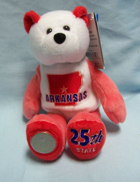 COIN BEAR #25 ARKANSAS State Quarter Coin PLUSH Bear - LIMITED TREASURES MISPRINT DATE