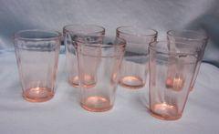 GLASSWARE: Set (6) Pink Depression Glass Anchor Hocking OPTIC PANEL RIB Juice Glasses