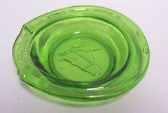 ASH TRAY: Green Depression Ashtray GOOD LUCK Vintage Horeshoe Shape Ashtray