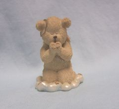 ANGEL BEAR FIGURINE: Boyds Bears & Friends Miniature Praying Angel Bear Figurine with Slipped Halo - LIL'S WINGS