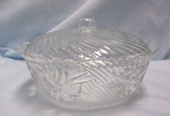 CANDY DISH: KIG Malaysia Candy Dish with Swirl Design & Lid with Scallop Rim