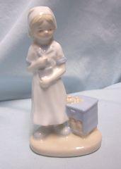 "NURSE FIGURINE: Pale Blue & White Porcelain 5 1/4"" Nurse Figurine by K's Collection"