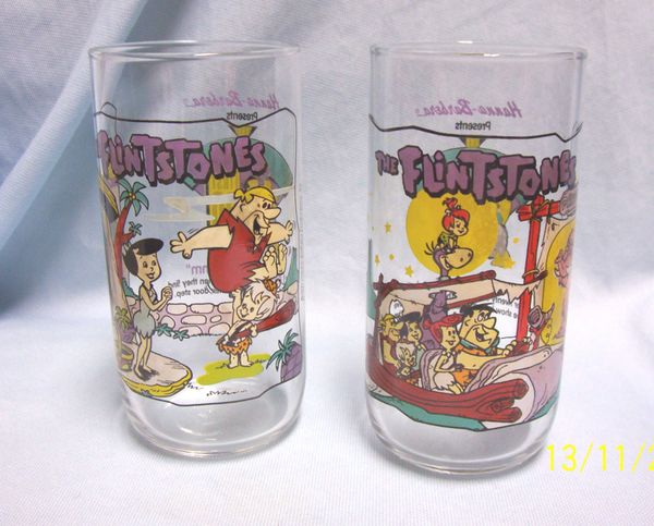 GLASSES: Pair Collectible FLINTSTONE Glasses from 1964 by Hanna-Barbera