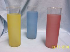 """VINTAGE BEVERAGE GLASSES: Set of (3) Unique 7"""" Slim Frosted Glasses in Pink, Blue, & Yellow"""