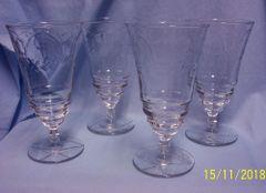 GLASSWARE: Set (4) Vintage Rock Sharp Footed Crystal Goblets 1960's - Arctic Rose