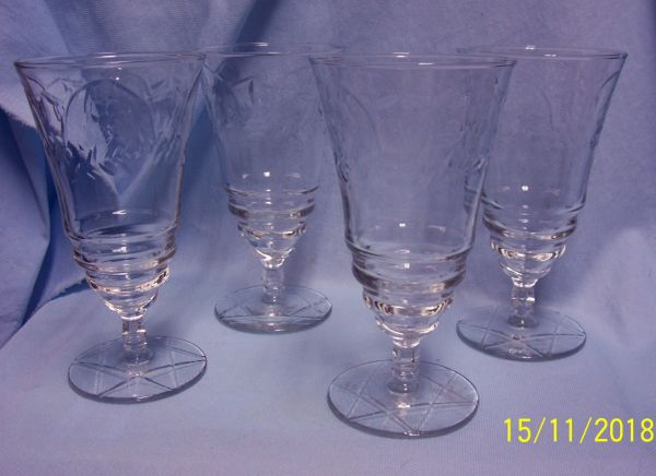 GLASSWARE: Set (4) Vintage Rock Sharp Footed Crystal Goblets 1960's - Arctic Rose
