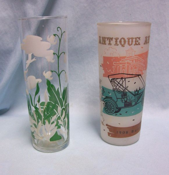 BEVERAGE GLASSES: Pair Vintage Drinking Glasses/Tom Collins Glasses 1908 Buick Plus Slim Glass with White Floral Decor