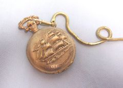 POCKET WATCH with Matching Fob Chain Quartz 2001 Gold-tone USS Constitution
