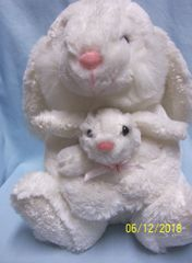 PLUSH EASTER BUNNY: White Plush Easter Bunny Holding Baby Bunny by Goffa Intl Corp