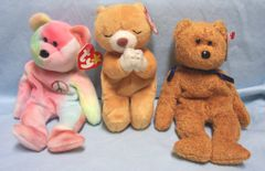 BEANIE BABIES: Set (3) Collectible Ty Beanie Baby Original - Fuzz, Hope, & Peace