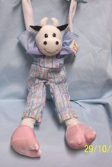 "BERKELEY DESIGNS: Whimsical Collectible Hanging Stuffed Cow 16.5"" Cute Addition for your Home Decor"