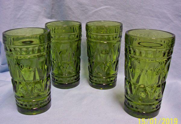 "ICE TEA GLASSES: Set (8) Ice Tea Glasses by Colony Park Lane 1950's Thumbprint Design 5.5"""