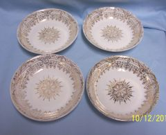 BOWLS: Vintage Stetson Fruit Bowls/Sauce Bowls with 22K Gold Greek Key & Shield Design & Trim